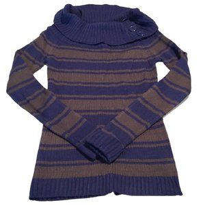[1955 Vintage] Striped Cowl Neck Sweater - Size S